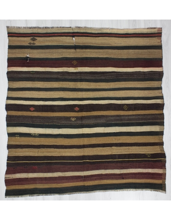 Square Striped Decorative Vintage Kilim Rug