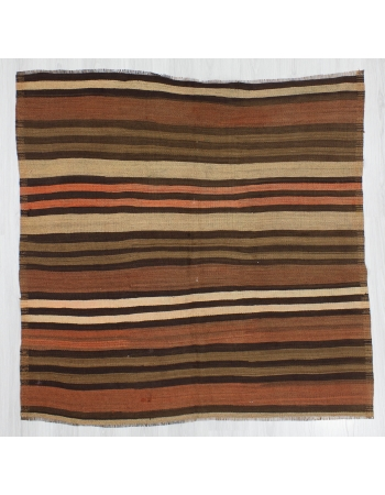 Square Vintage Striped Turkish Kilim Rug