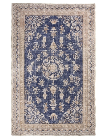 Vintage Navy Turkish Oushak Rug