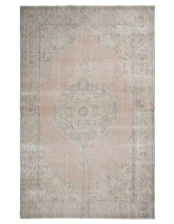 One of a Kind Vintage Washed Out Oushak Rug