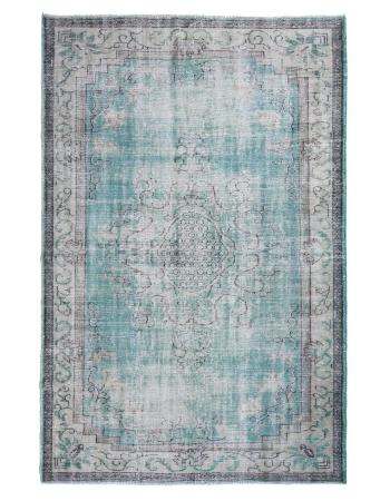 Distressed Vintage Turquoise Oushak Rug