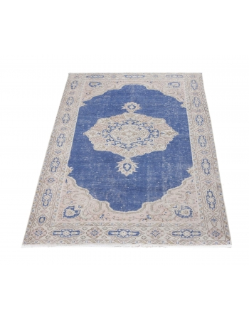 Vintage Unique Navy Oushak Rug