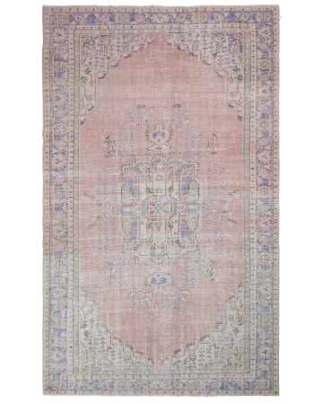 Distressed Vintage Unique Oushak Rug