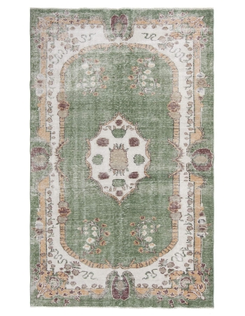 Distressed Vintage Green Oushak Rug