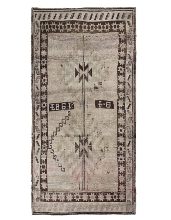 Decorative Vintage Turkish Kars Wool Rug