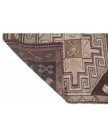 Vintage Brown Turkish Wool Kars Rug