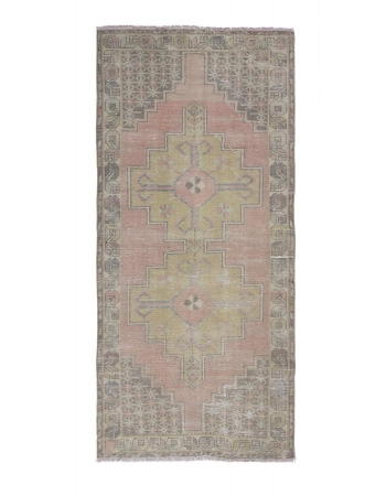 Vintage Faded Turkish Wool Rug