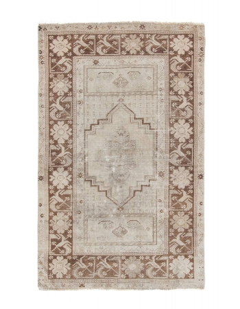 Washed Out Vintage Decorative Turkish Rug