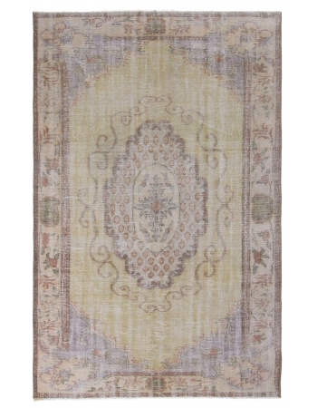 Vintage Faded Turkish Oushak Rug