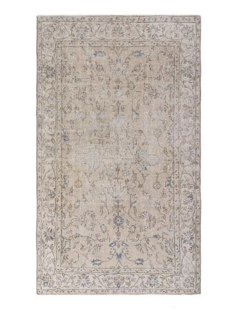 Distressed Vintage Floral Turkish Rug