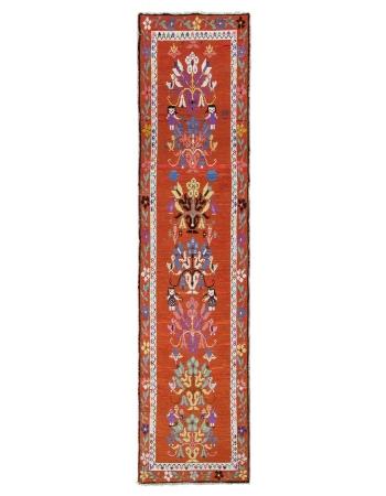 Orange Vintage Floral Runner Rug