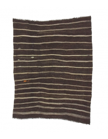 Vintage Striped Brown Kilim Rug
