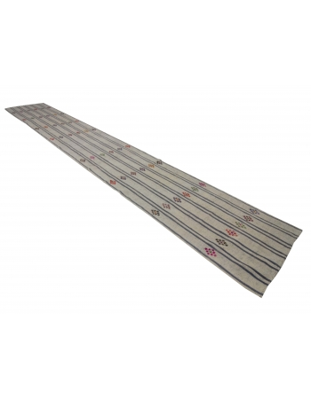 Vertical Striped Long Vintage Kilim Runner Rug