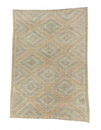 Washed Out Vintage Cotton Embroidered Kilim Rug