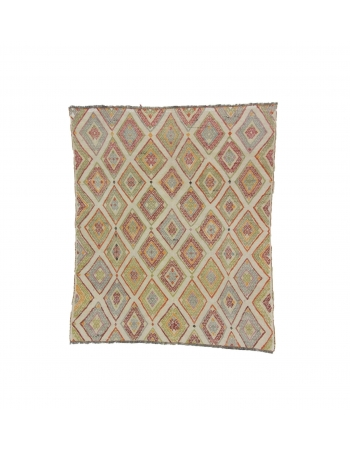 Embroidered Decorative Vintage Kilim Rug