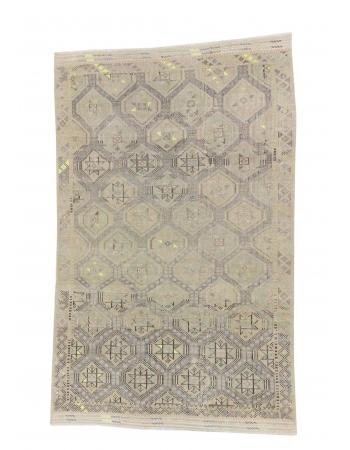 Vintage Embroidered Faded Kilim Rug