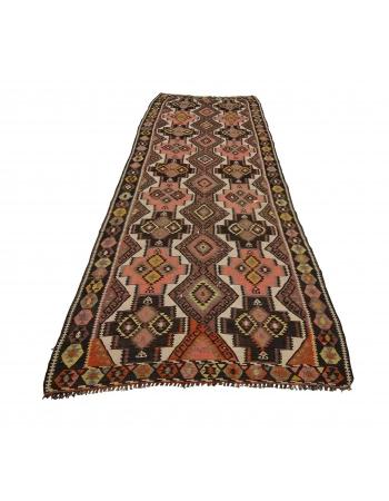 Handwoven Vintage Wool Kars Kilim Rug