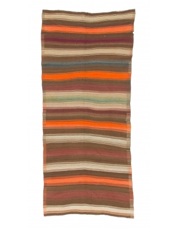 Striped Vintage Wool Turkish Kilim Rug