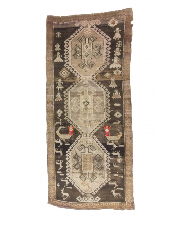 One Of A Kind Vintage Turkish Kars Rug