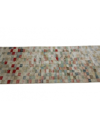 Vintage Washed Out Deco Runner Rug