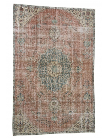 Vintage Distressed Turkish Oushak Rug