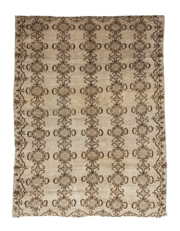 Vintage Brown & Ivory Turkish Oushak Rug