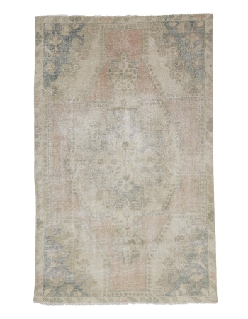 Distressed Vintage Washed Out Turkish Rug