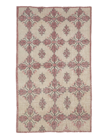 Vintage Worn Turkish Floral Rug