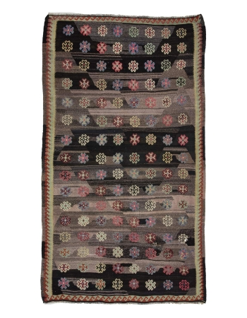 Vintage Black Decorative Turkish Kilim Rug