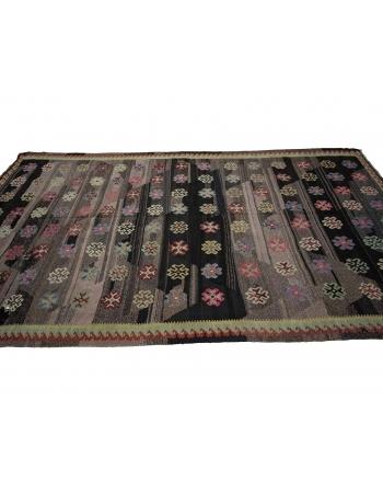 Vintage Black Decorative Turkish Kilim Rug