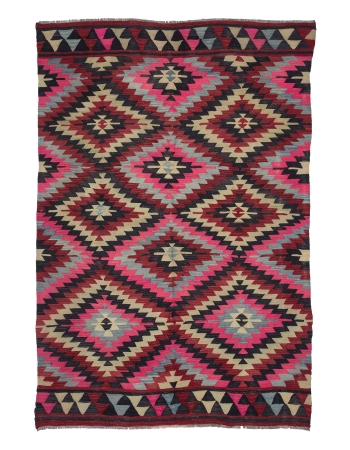 Vintage Pink & Black Turkish Kilim Rug
