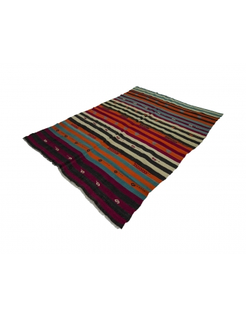 Colorful Vibrant Striped Vintage Kilim Rug