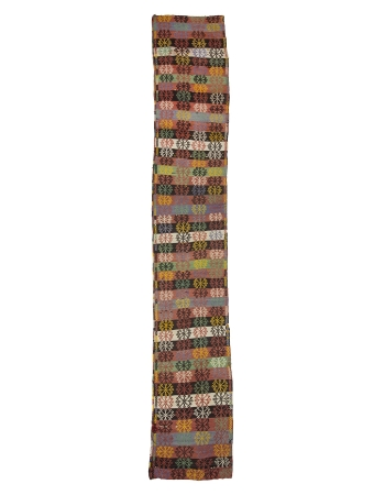 Embroidered Vintage Long Turkish Kilim Runner
