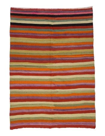 Striped Colorful Vintage Turkish Kilim Rug