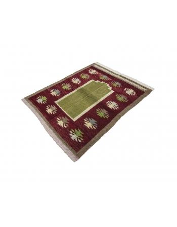 Green & Burgundy Vintage Tulu Rug