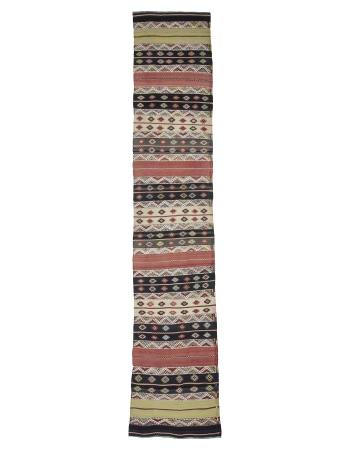 Embroidered Vintage Turkish Kilim Runner Rug