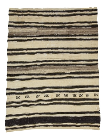 Striped Vintage Turkish Kelim Rug