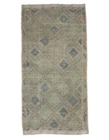 Vintage Washed Out Embroidered Kilim Rug