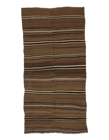 Striped Vintage Natural Brown Kars Kilim Rug