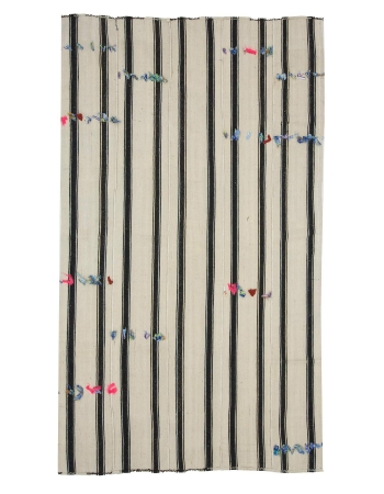 Vertical Black & White Striped Kilim Rug With Pon Pon