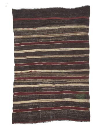 Vintage Burgundy & Gray Striped Kilim Rug