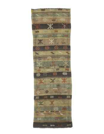 Embroidered Vintage Turkish Kilim Runner