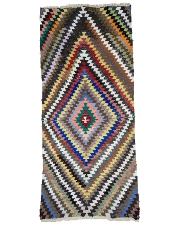 Vintage Colorful Turkish Cotton Kilim Rug
