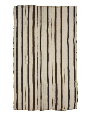 Vintage Vertical Striped Wool Kilim Rug