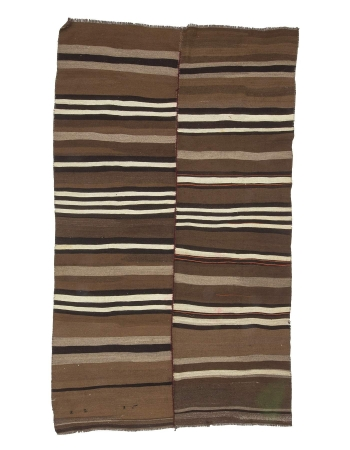 Brown & Black Striped Vintage Kilim Rug