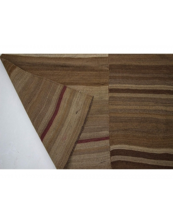 Brown Vintage Natural Wool Kilim Rug
