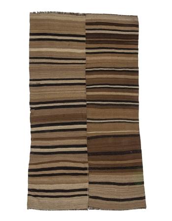 Black & Brown Striped Vintage Wool Kilim