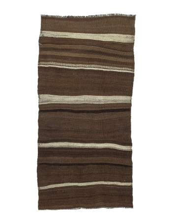 Brown Vintage Striped Kilim Rug