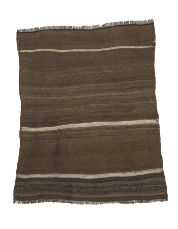 Natural Brown Small Turkish Kilim Rug