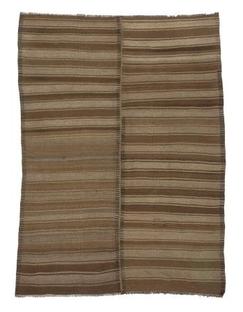 Natural Brown Vintage Turkish Kilim Rug